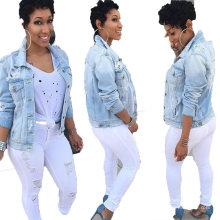 Plus Size 5XL European and American Women′s Washed Blue Short Denim Jacket