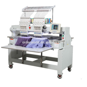 Touch Screen High Speed Industrial Tubular 2 Head Embroidery Machine