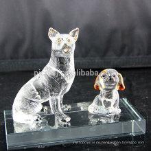 Werbe Top-Qualität Modische Kristall Glas Tierfiguren Dekoration Hund Glas Handwerk