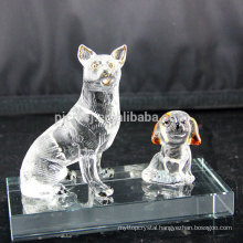 Promotional top quality Fashionable crystal glass animal figurines decoration dog glass crafts