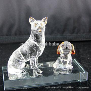 Promotionnel top qualité à la mode cristal verre animal figurines décoration chien verre artisanat