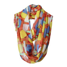 Women Fashion Geometry Printed Polyester Chiffon Infinity Scarf (YKY1119)