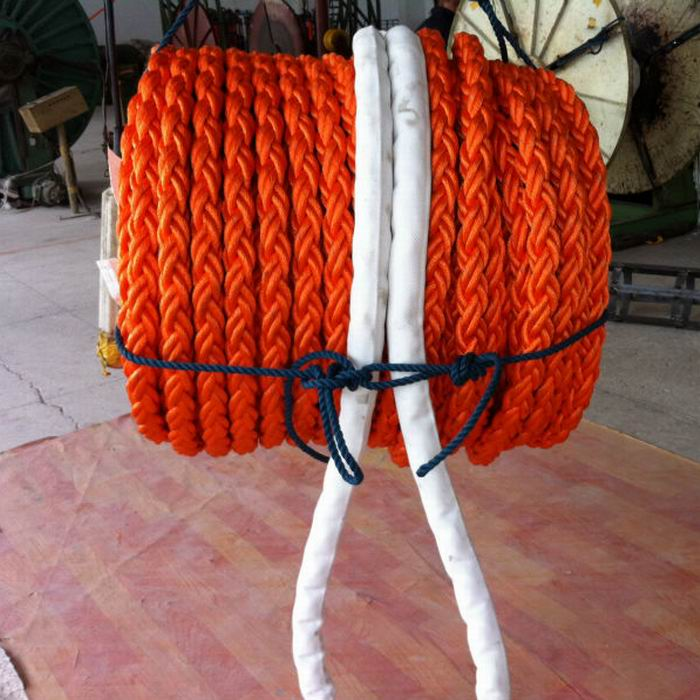 80mm 8 strands orange pp rope