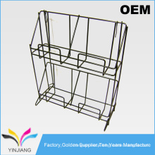 Counter Table 2 Tiers 4 Pockets Metal Book Display Rack for Magazine Holder