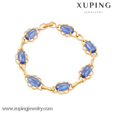 74016 Xuping wholesale fashion jewelry 18k gold bracelet with dark blue zircon