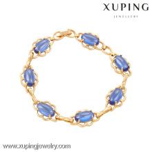74016 Xuping atacado moda jóias pulseira de ouro 18k com zircão azul escuro