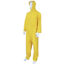 Heavy Duty Yellow Working PVC Rain Traje de la capa