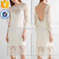 Белый Гипюр кружева Миди платье OEM и ODM Производство Оптовая продажа женской одежды (TA7111D)