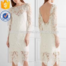 White Guipure Lace Midi Dress OEM/ODM Manufacture Wholesale Fashion Women Apparel (TA7111D)