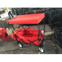 Handwagen der roten Farbe mit Überdachung