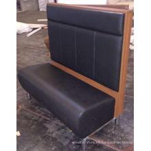 Asiento de banco o de banca de madera del restaurante de cuero de la PU de la parte posteriora alta negra