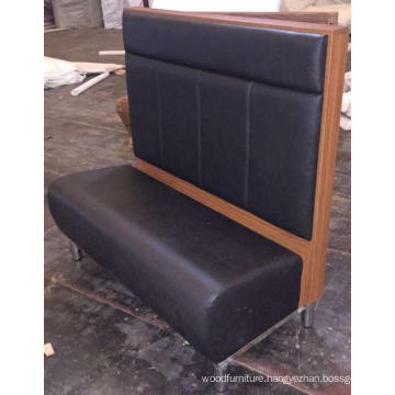 High Back Black PU Leather Wood Restaurant Booth or Bench Seating
