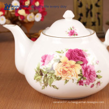 Дешевый розовый цвет роза цветок печатный фарфоровый чайник набор уникальный керамический чайник набор для взрослых