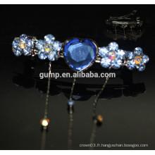 Blue Flower Design Cheap Rhinestone Hairgrip Girls Accessoires pour cheveux Glitter Crystal Barrette