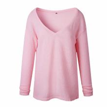 O pulôver longo da luva do inverno do outono mantem a camisola larga redonda da mulher do pescoço em volta