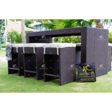 High End PE Rattan All Weather Bar Set avec un design exceptionnel pour les meubles extérieurs de jardin