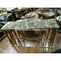 Rose gold color stainless steel console black marble top console cabinet