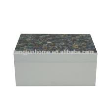 Nouvelle-Zélande Paua Shell Boîte à bijoux avec peinture blanche Artisanat naturel
