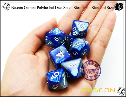 Bescon Gemini Polyhedral Dice Set of Steelblue-2