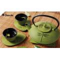 Chinesische Gusseisen Teekanne gesetzt