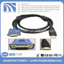 Oro plateado HDMI al cable del VGA con los ferrits dobles varón al varón 1.5M