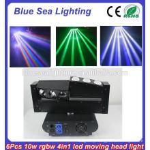10 Watt 6 pedaços RGBW 4in1 movendo cabeça conduziu feixe / levou aranha / feixe movendo luz principal