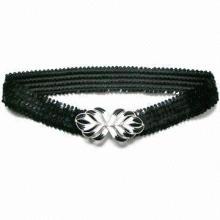 Elastic Sequin Belt with Fancy Buckle