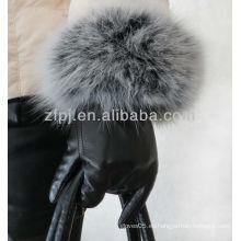 Estilo noble guante de cuero de piel de conejo