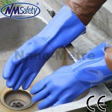 Los guantes largos del trabajo del PVC del puño de NMSAFETY guante del guantelete del guante de la mano