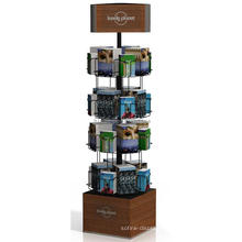 Quality Assured Free Design Library 4-Tier Mdf Veneering Stand 24 Metal Pockets Folding Book Rack