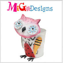Novelty Design Adorable Owl Metal Garden Flower Planter