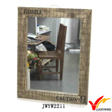 Large Wooden Framed Rough Antique Rectangular Wall Mirror