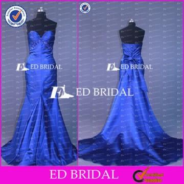 ED Bridal Exquisite Mermaid Sweetheart Lace Up Back Bow Sash Beaded Blue Long Evening Dress 2017