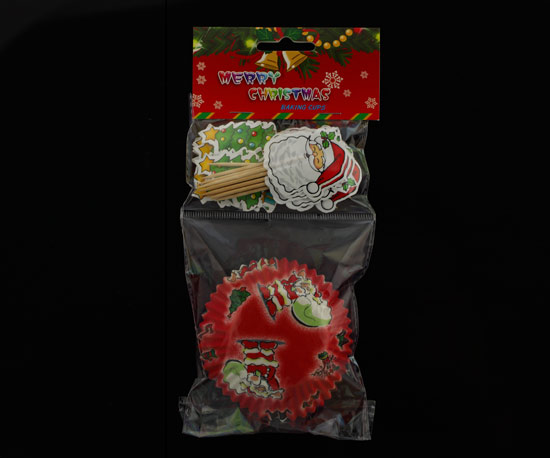 Holiday cupcake liner and topper sets