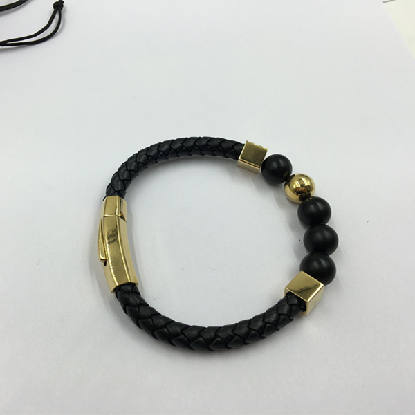 Bead leather bracelet