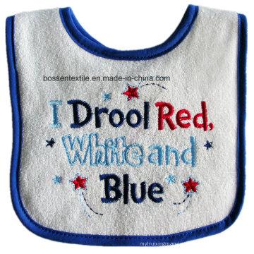 Letras promocionais de algodão bordadas com babador de bebê Terry personalizado avental