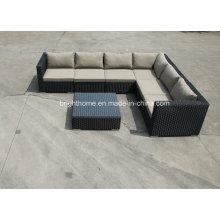 Patio al aire libre juego de sofá de jardín de ratán