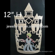 wholesale Fashion Rhinestone Big CASTLE pageant crown tall pageant crown tiara for male