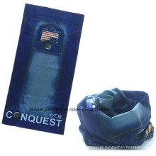 China Fábrica OEM Produce personalizado logotipo denim impresso microfibra elástica multifuncional esportes lenços Buff