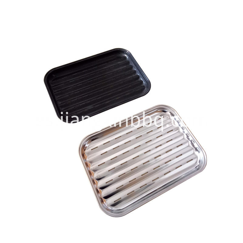 Serve Bbq Food Tray Black And Sliver