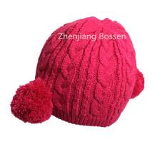 Fördernde kundengebundene rosa nette Mädchen stricken Beanie