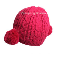Promotional Customized Pink Cute Girls Knit Beanie