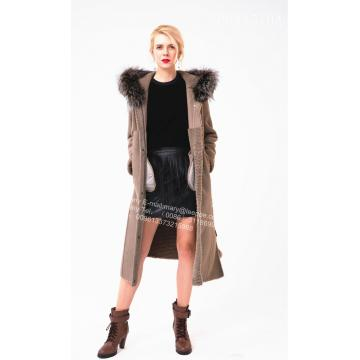 Winter Women Long Hooded Australia Merino Shearling Coat