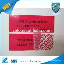 Fertigung Klare Farbe mit Tamper Evident Aufkleber VOID Label