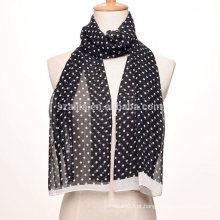 Moda pontilhada lenço de seda de poliéster de seda longa chiffon de impressão