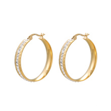E-579 xuping mode simple 24K couleur or bijoux strass dames cerceau boucles d'oreilles