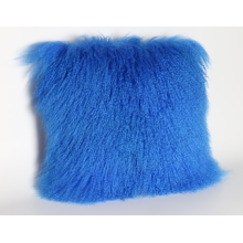 Curly Lamb Skin Fur Pillow in Blue Tone