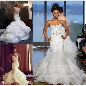 2017 Bridal Gowns Vestidos De Noiva casamento Mermaid Ruffle Wedding Dresses CWFw2570