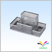 Office and stationery supplies silver metal wire mesh desk organizer for student
