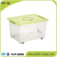 Transparente Aufbewahrungsbox aus Kunststoff mit Rädern